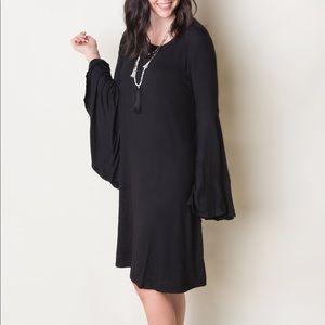Bell Sleeve Dress (Solid Black)
